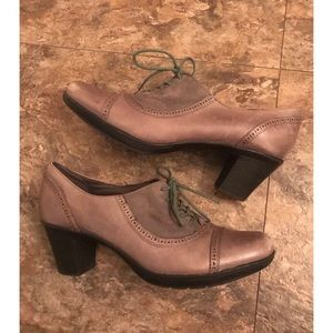 Clarks Gray Leather Lace Up Oxford Heels Shoes